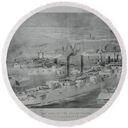 Round Beach Towel featuring the digital art Ships by Cathy Anderson