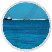 Ships  In Harbor Round Beach Towel