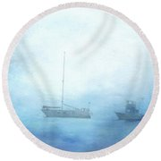 Ships In The Morning Haze  Round Beach Towel