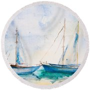Ships In The Sea Round Beach Towel