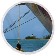 Ship's Ropes And Lighthouse Round Beach Towel