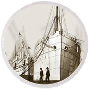 Round Beach Towel featuring the photograph Steam Ships San Francisco California   Circa 1900 Historical Photo by California Views Mr Pat Hathaway Archives