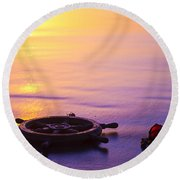 Ships Wheel And Fishing Float Round Beach Towel
