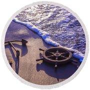 Ship's Wheel Ocean Beach Round Beach Towel
