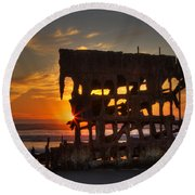 Shipwreck Sunburst Round Beach Towel