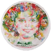 Shirley Temple - Watercolor Portrait.1 Round Beach Towel by Fabrizio Cassetta
