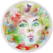 Shirley Temple - Watercolor Portrait.2 Round Beach Towel by Fabrizio Cassetta