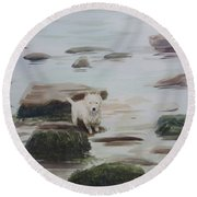 Round Beach Towel featuring the painting Shirley's Dog by Martin Howard