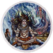 Shiva - Ganga - Harsh Malik Round Beach Towel