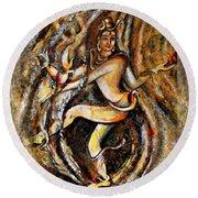 Round Beach Towel featuring the painting Shiva Eternal Dance by Harsh Malik