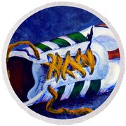 Round Beach Towel featuring the painting Shoeless by Jackie Carpenter