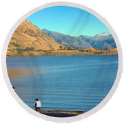 Round Beach Towel featuring the photograph Shooting Ducks On Lake Wanaka by Stuart Litoff