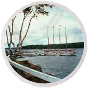 Shore Path In Bar Harbor Maine Round Beach Towel