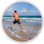 Round Beach Towel featuring the photograph Shore Play by Keith Armstrong