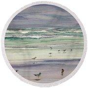 Shoreline Birds IIi Round Beach Towel