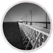 Shorncliffe Pier In Monochrome Round Beach Towel