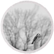 Short-eared Owl In Black And White Round Beach Towel