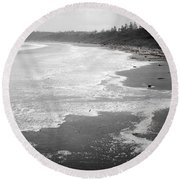 Winter At Wickaninnish Beach Round Beach Towel