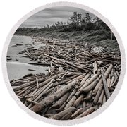 Shoved Ashore Driftwood  Round Beach Towel by Roxy Hurtubise