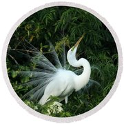 Showy Great White Egret Round Beach Towel by Sabrina L Ryan
