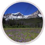 Showy Penstemon Wildflowers Sawtooth Mountains Round Beach Towel
