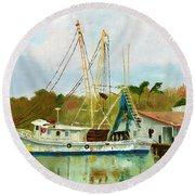 Shrimp Boat At Dock Round Beach Towel