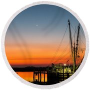 Shrimp Boat At Dusk Folly Beach Round Beach Towel