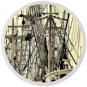 Round Beach Towel featuring the photograph Shrimp Boat by Debra Forand