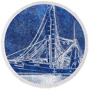Shrimp Boat - Dock - Coastal Dreaming Round Beach Towel