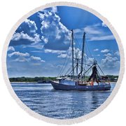 Shrimp Boat Heading To Sea Round Beach Towel