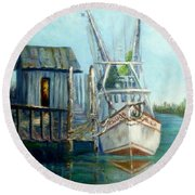 Shrimp Boat Paintings Round Beach Towel