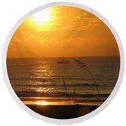 Shrimp Boat Sunrise Round Beach Towel