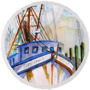 Shrimp Fishing Boat Round Beach Towel