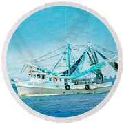 Shrimp Trawler Round Beach Towel