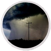 Round Beach Towel featuring the photograph Shrouded Tornado by Ed Sweeney