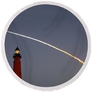 Round Beach Towel featuring the photograph Shuttle Discovery Liftoff Over Ponce Inlet Lighthouse by Paul Rebmann