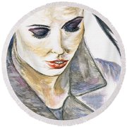 Shy Lady Round Beach Towel by Teresa White
