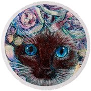 Siamese Bride Round Beach Towel