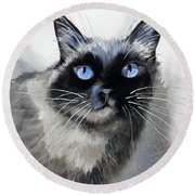Siamese Cat Round Beach Towel