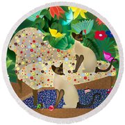 Siameses En Chaise Con Flores Limited Edition 2 Of 15 Round Beach Towel by Gabriela Delgado