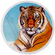 Round Beach Towel featuring the painting Siberian King Tiger by Bob and Nadine Johnston