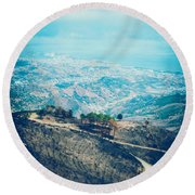 Round Beach Towel featuring the photograph Sicilian Land After Fire by Silvia Ganora