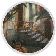 Round Beach Towel featuring the painting Sicilian Nunnery by Donna Tuten