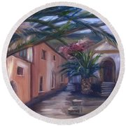 Round Beach Towel featuring the painting Sicilian Nunnery II by Donna Tuten