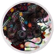 Side Face Lady Round Beach Towel