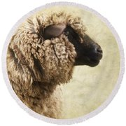 Side Face Of A Sheep Round Beach Towel by Priska Wettstein