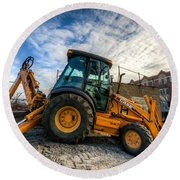 Side View Of A Backhoe At Sunset Round Beach Towel