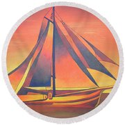 Round Beach Towel featuring the painting Sienna Sails At Sunset by Tracey Harrington-Simpson