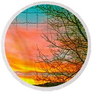 Sierra Sunset Cubed Round Beach Towel by Mayhem Mediums