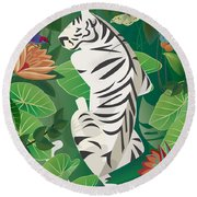 Siesta Del Tigre - Limited Edition 2 Of 15 Round Beach Towel by Gabriela Delgado